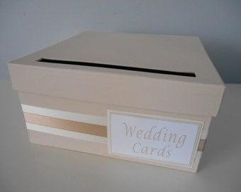 Modern Wedding Card Box Bridal Shower Card Box Reception Card Box Custom Handmade Card Box, Blush Pink  Champagne Gold You Customize Colors