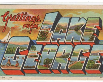 Greetings from Lake George New York Large Letter Linen postcard