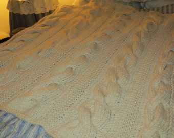 Hand Knit Fishermen Cable Afghan in Off-White