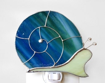 Snail Night Light Stained Glass Blue Green Nursery Night Light Handmade Nightlight