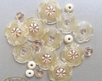 Bridal Flower Lampwork Glass Beads, FREE SHIPPING, Champagne and Cream Beads, Handmade Flowers - Rachelcartglass