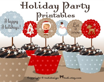 Holiday / Christmas Party Printables RED version- INSTANT DOWNLOAD Full Party Set
