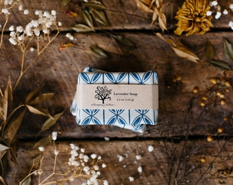 Linen Wrapped Natural Lavender Soap - Made with Organic Oils - Vegan - 5.5 oz
