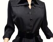 Vintage 40s Dress // 1940s Black Faille Dress Trimmed in Black Velvet Fitted Waist Button Down Stand Away Pockets & Belt B40 Reich Original