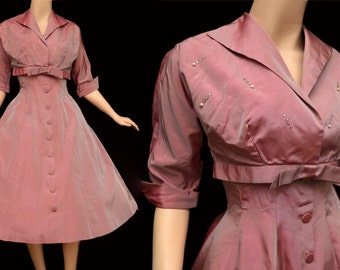 Vintage 50s Dress // 1950s Pink Sharkskin Taffeta Dress with Matching Jacket Pearls and Rhinestones Nipped Waist Prom Party
