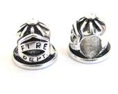 1 BEAD - Fire Dept hat bead with large hole size  - CM073