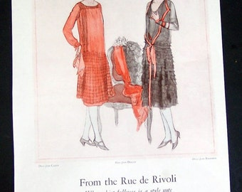 1926 Ladies Fashion and Hat Original Magazine Page Ad, Dress from Caret, Hats from Descat, Dress from Redfern, From the Rue de Rivoli