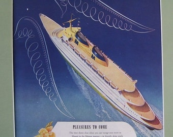 Matson Angels Wings Nautical Ship Ocean Liner 1946 Ad,  Original Magazine Page Print, the Royal Hawaiian Hotel, Matson Lines Pacific