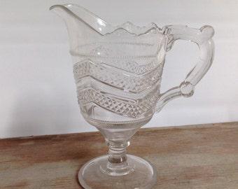 Vintage Pressed Glass Cream Pitcher - EAPG - Ornate - Pedestal