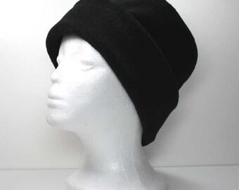 Black Fleece Hat Girls / Ladies Anti Pill Pillbox Fleece Hat Winter Hat Roll Brim Hat Fleece Hats Womens Fleece Hats Womans Fleece Hats