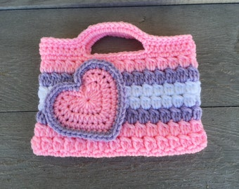 Pink, Purple and White Valentines heart Purse Kids Crochet Purse