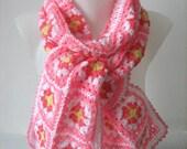 Granny square scarf, crochet, unique design, warm, hippie style, pink, handmade, bohemian, patchwork