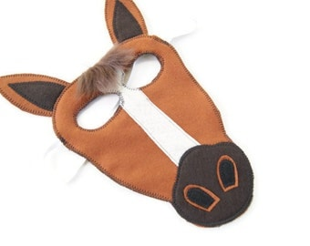 Horse Mask,  Dress Up, Farm Animal Birthday Party Favor, Easter Mask, Children's Halloween Costume, Adult Mask