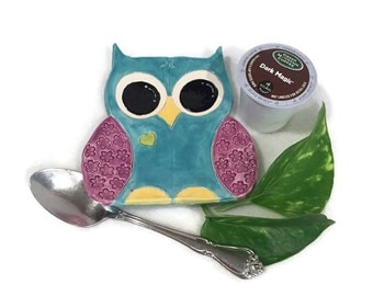 Owl Spoon Rest / Jewelry Dish - Turquoise Blue and Purple - Ready to Ship