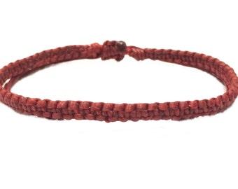 Classic Deep Red Friendship Thin Cotton FAIR TRADE Buddhist Wristband Bracelet Handcrafted Wristwear