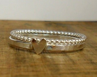 Set of 2  Sterling Silver Stacker Rings with Heart & Bubble ring