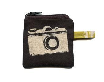 Etsuko Furuya for Kokka Echino Black Camera Fabric Little Coin Purse by SBMathieu