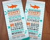 SHARK Birthday Boy Printable Invitation in Aqua Turquoise and Orange