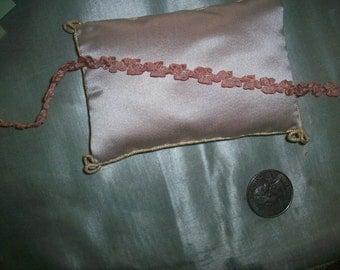 1 foot of beautiful Authentic pink silk ribbon work garland