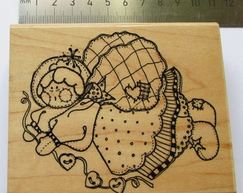 Granny Angel wood mounted stamp