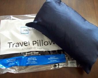 Travel Size pillow PLUS Navy Blue Satin Pillowcase