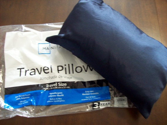 Travel Size Pillow Plus Navy Blue Satin Pillowcase