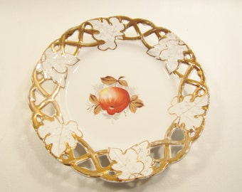 Vintage China Plate Apple Leaves Gold Reticulated Rim