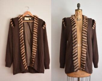 vintage 1980s sweater / soft angora sweater / rabbit fur trim sweater