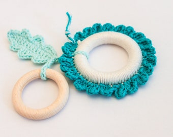 Teal Cream Baby Flower Baby Teething Toy / Mobile Toy / Chewing Toy