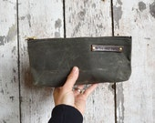 Waxed Canvas Pouch: Moss by Peg and Awl