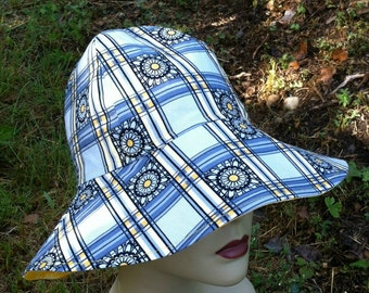 Ladies Sun Hat - Floppy Hat - Gardening Hat - Easy to Pack Along - Take Me Anywhere - Sun Cover - Blue Hat - Vacation Hat - Comfortable