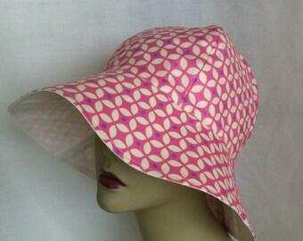 Ladies Sun Hat, Floppy Hat, Gardening Hat, Pink Ladies Sun Hat, Geometric Design, Large Brim Sun Hat, Sun Hat, Summer Hat, Packable Sun Hat
