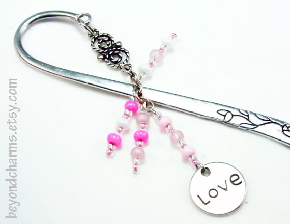 Valentines Always and Forever Bookmark. Pink and White Beaded Love Bookmark. Engraved Book Mark. LBK054