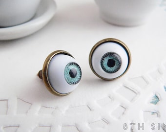 Antique Bronze Eyeball Earrings, Blue Eye Earrings, Brown Eye Earrings, Eyeball Stud Earrings, Doll Eye Earrings, Evil Eye Earrings