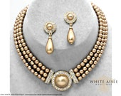 Gold Pearl Necklace Set, Bridal Jewelry Set, Vintage Inspired Rhinestone Necklace, Multi Strand, Bridal Necklace, Chunky Statement Necklace