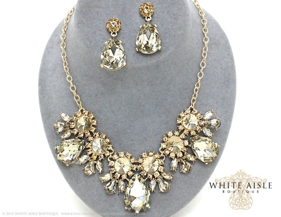 champagne bridal statement necklace set by whiteaisleboutique