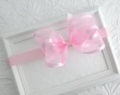 Light Pink Satin & Organza Baby Bow Headband, Flower Girl Headband, Pink Satin Hair Bow, Pink Organza Bow, Baby Headband, Toddler Headband