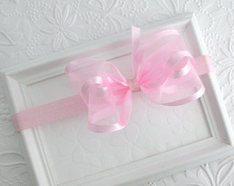 Light Pink Satin & Organza Baby Bow Headband, Flower Girl Headband, Pink Satin Hair Bow, Pink Organza Bow, Baby Headband, Toddler Headband