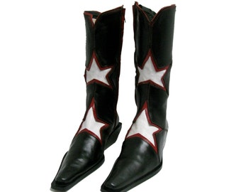 Destroy Cowboy Boots Vintage Womens Black Red and White Leather Star Inlay Western Boots Made In Spain Fits Wms Size 7