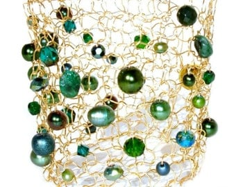 Emerald Green Pearl Cuff Bracelet Gold Cuff Bracelet Statement Bracelet Beaded Bracelets Arm Cuff Glamorous Jewelry Gift For Her