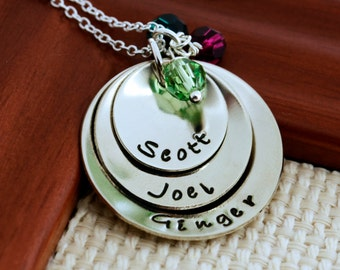 Mother Birthstone Necklace Personalized, Mother's Day, Grandmother Necklace, Child Name, Hand Stamped