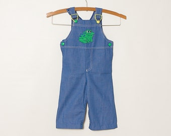 vintage 70s 80s toddler boy's overalls dungarees frog bibs