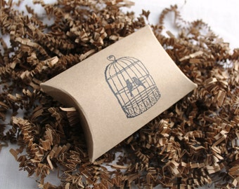 12 Love Birds in Cage stamped kraft pillow boxes- usable inside dimensions- 3.5 x 3 x 1 inches