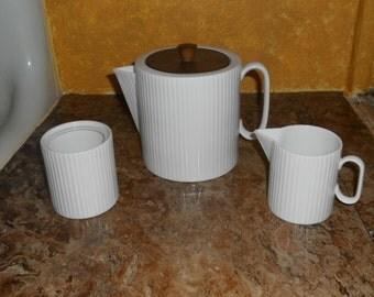 Vintage White Ribbed Coronet Coffee/Tea Set-Teapot, Creamer & Sugar-NICE