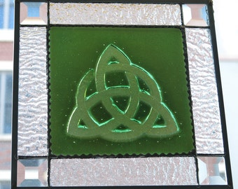 Fused Glass Celtic Knot Stained Glass Panel