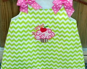 Valentine Cupcake applique chevron dress So Sweet lime green sizes 9 months 5t