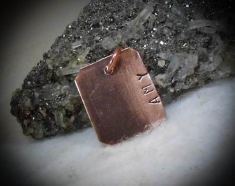 Amy Hand Stamped Copper Pendant Charm Dangle FOB Name Tag