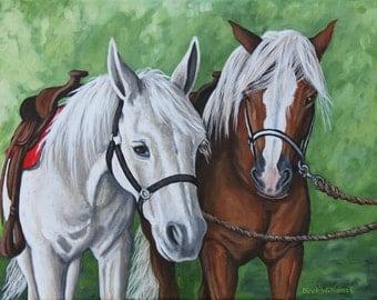 Horse Painting - Saddled Horses - White Horse - Palomino Horse - 14x18 Acrylic Original Painting
