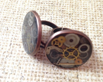 Large Antiqued Copper Clockwork Clutter Adjustable Ring