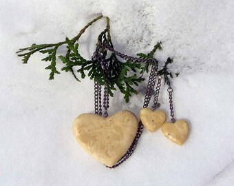 Classy Hearts Necklace and Earrings Set of Birds Eye Sugar Maple Wood with GunMetal Chains and Fixings -  Romance and Love